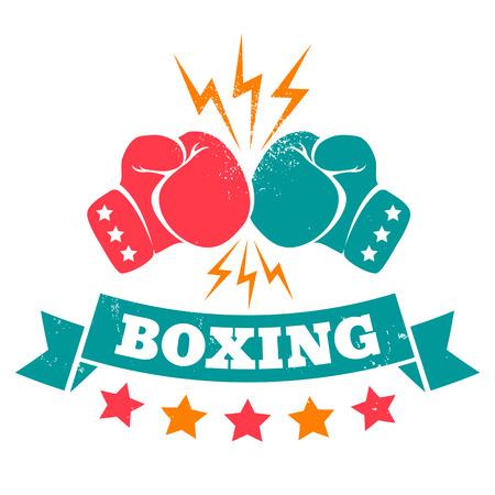 boxeador: Logotipo de la vendimia por un boxeo en el fondo del grunge Vectores