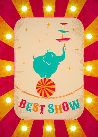 fondo de circo: Cartel de circo retro con el elefante en bola