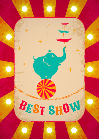 circus animal: Retro circus poster with elephant on ball