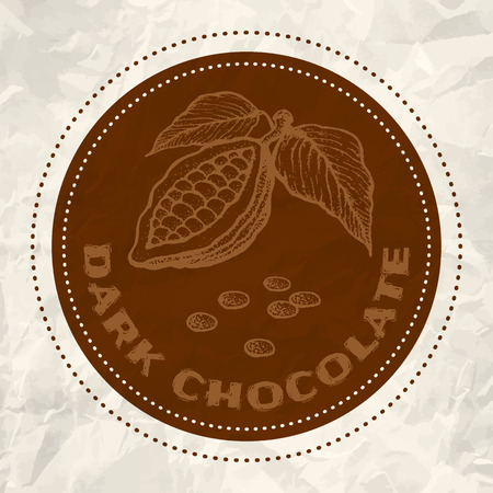 cocoa: Vintage logo of cocoa on crumpled white paper