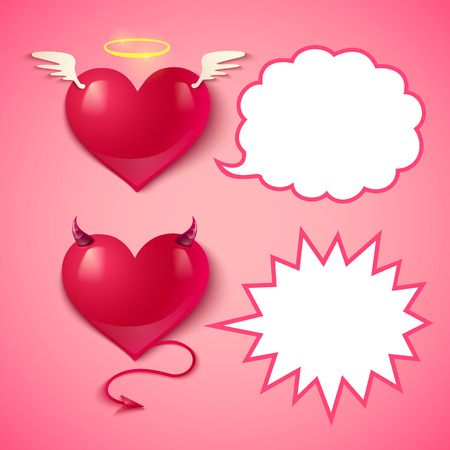 devil cartoon: Devil and angel hearts and comics bubbles Illustration