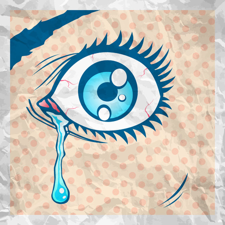crying eyes: Vector illustration of the eye with a tear Illustration