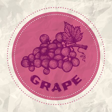 purple grapes: Vintage logo of grape on crumpled white paper Illustration