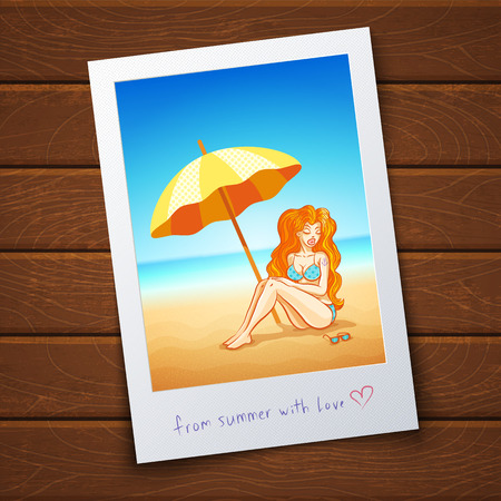 album photo: Retro photo with beautiful girl on the tropical beach Illustration