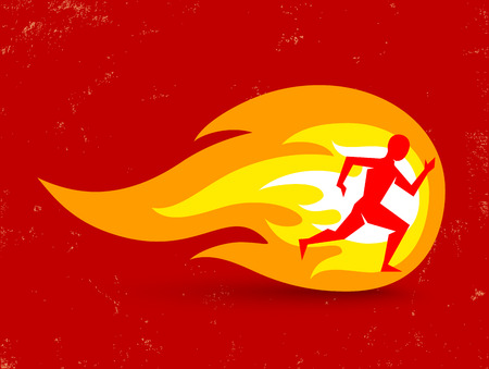 burning man: Vector concept for running with man and fire