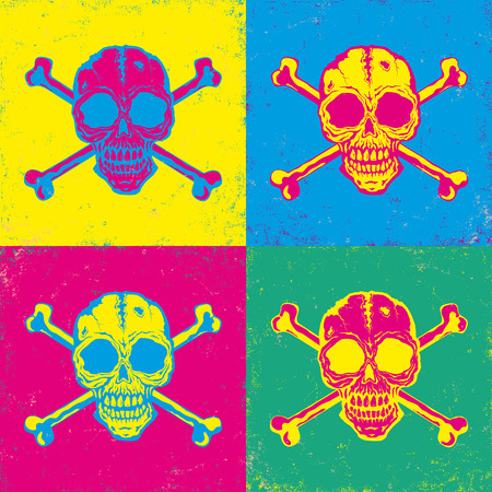 crossbones: Vintage poster with bright color skulls