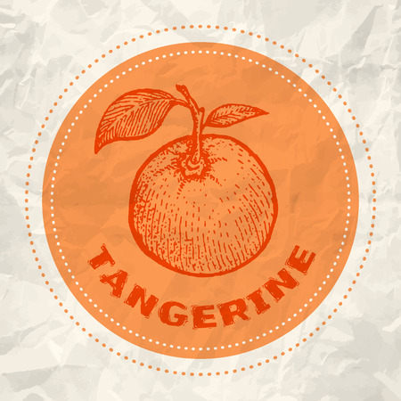 raw food: Vintage logo of tangerine on crumpled white paper