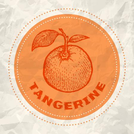 tangerine: Vintage logo of tangerine on crumpled white paper
