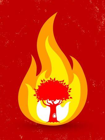 buisson: Affiche de vecteur vintage avec l'arbre dans le feu