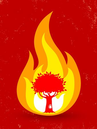 burning bush: Vintage vector poster with tree in fire Illustration