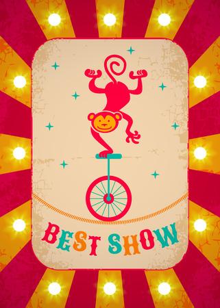 payasos caricatura: Cartel de circo retro con mono en bicicleta