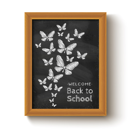 wings: Vector background with butterflys on chalkboard for school day
