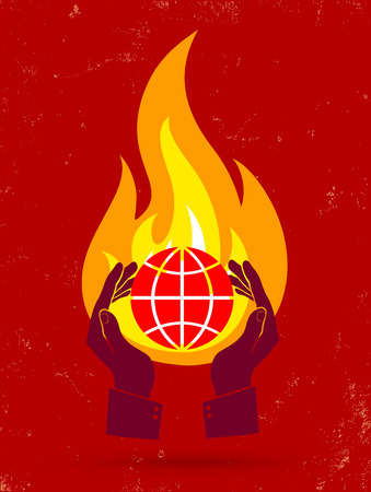 hands holding globe: Vector illustration of a burning globe and hands