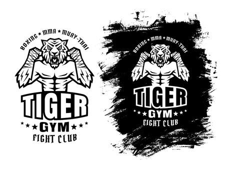 peleando: El logotipo del deporte de plantilla para el club de la lucha con el tigre enojado