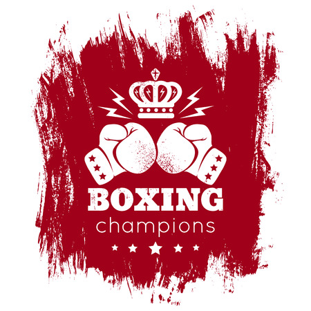 boxing glove: Vintage logo for boxing with gloves and crown