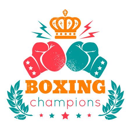 guantes: Logotipo de la vendimia para el boxeo con guantes y corona