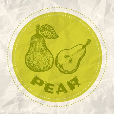 white textured paper: Vintage  of pear on crumpled white paper