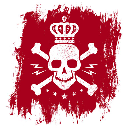 crossbones: Vintage emblem with skull on grunge background Illustration