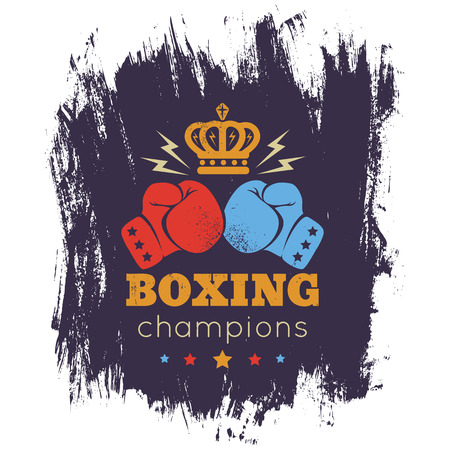 boxing knockout: Vintage  for boxing with gloves and crown Illustration