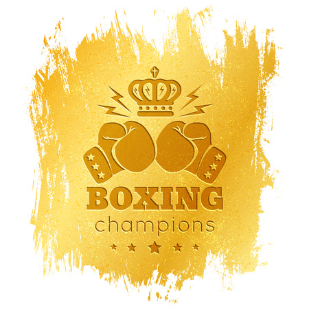 boxing knockout: Vintage  for boxing with gloves on gold background Illustration