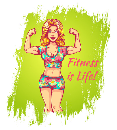 muscle girl: Vector illustration of a fitness girl on green background Illustration