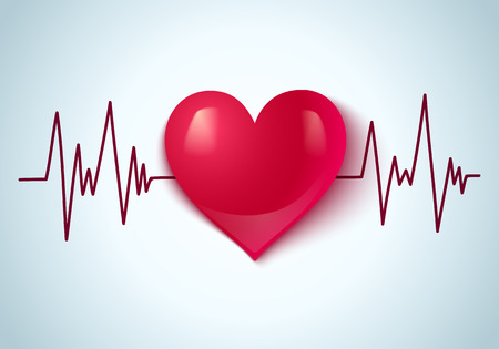 pulse: Vector abstract illustration of a heart and pulse