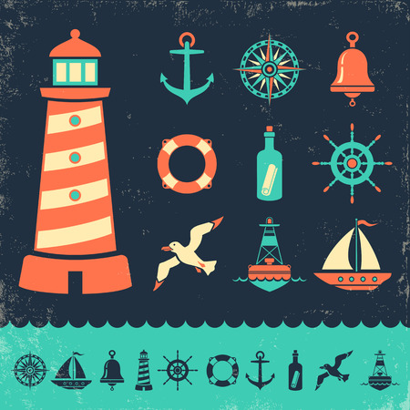 lighthouses: Vector set vintage marine icons on old background