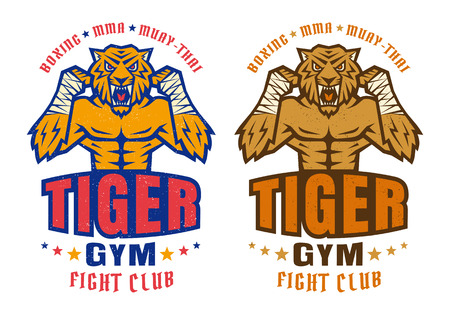 beast: Template sport logo for fighting club with angry tiger