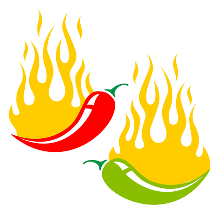 mexican cartoon: Vector illustration of two chili peppers in fire
