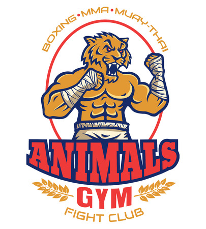 Template sport logo for fighting club with angry muscular tiger