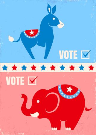 burro: Ilustraci�n vectorial burro y el elefante. Estados Unidos s�mbolos de los partidos pol�ticos