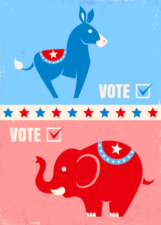 Vector illustration donkey and elephant. United States political party symbols Illustration