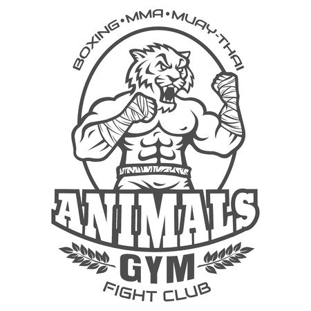kickboxing: Template sport logo for fighting club with angry muscular tiger