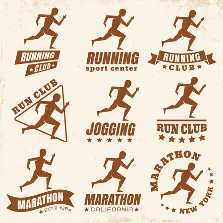 jogging: Vector set logos for running club