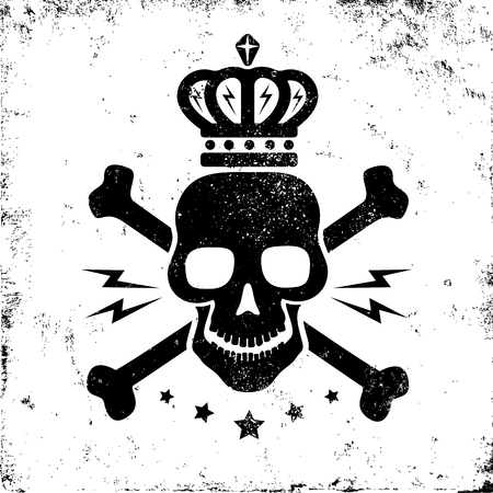 skull crossbones: Vintage logo with black skull and crown