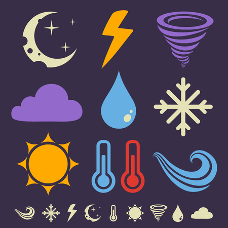 twister: Vector set flat weather icons in dark background Illustration