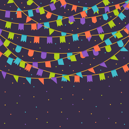 summer festival: Vector template with a carnival flags