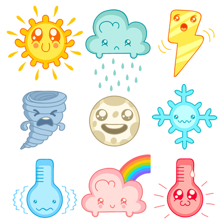 hurricane weather: Vector set weather icons in mangs style.