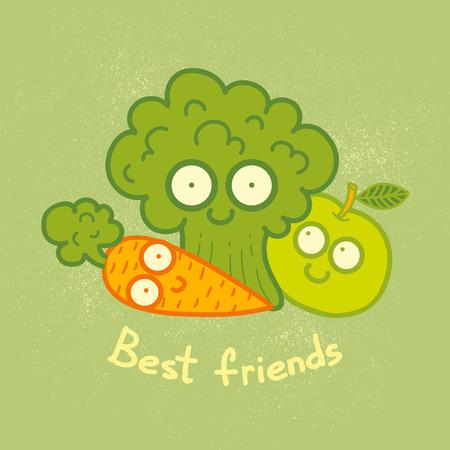 zanahoria caricatura: Ilustraci�n de un verduras y frutas. Mejores amigos.