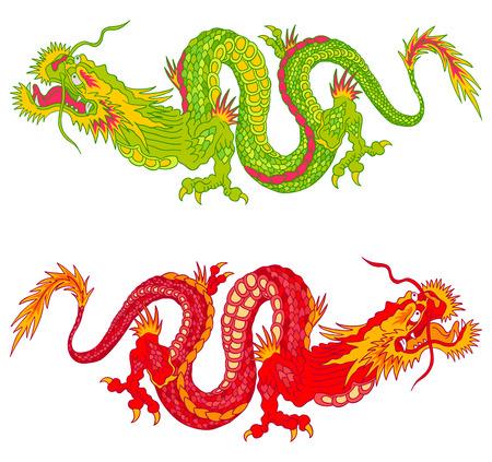dragones: Ilustración vectorial de dos dragones chinos