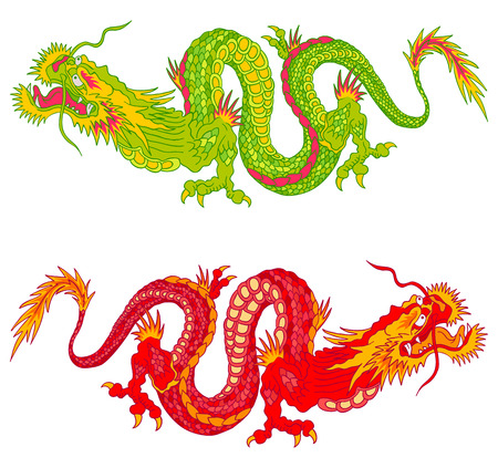 tattoo traditional: Vector illustration of two chinese dragons