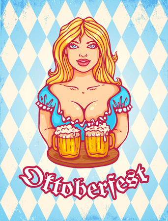 girl glasses: Vector greeting card for Oktoberfest with beautiful girl