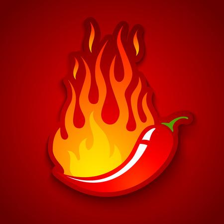logos restaurantes: Ilustraci�n vectorial de un chile en el fuego Vectores