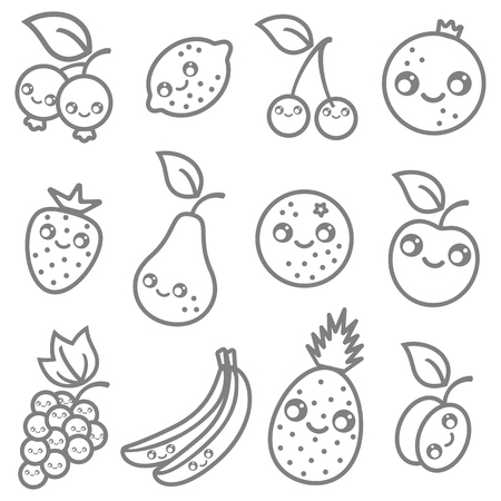 bilberry: Vector set flat illustration of a fruits in kawaii style Illustration