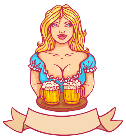 beers: Vector illustration of a beautiful girl and beers Illustration