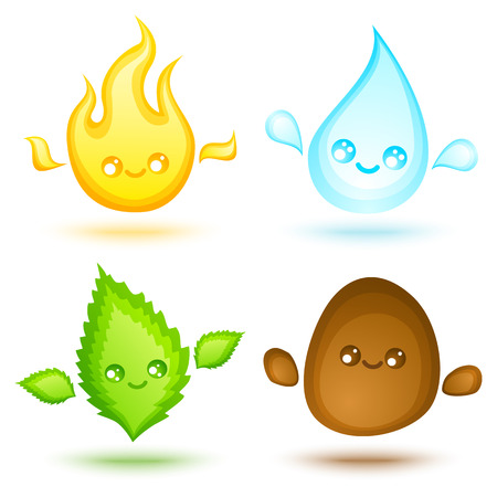 cuatro elementos: Vector conjunto de iconos cuatro elementos en el estilo del kawaii