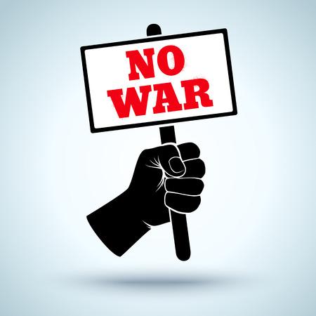 conflictos sociales: Cartel del vector con el puño y placard. No a la guerra Vectores