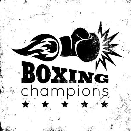 guantes de box: Logotipo de la vendimia por un boxeo en el fondo del grunge Vectores