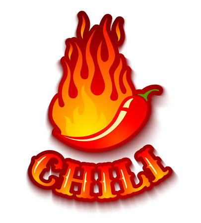 Vector illustration of a chili pepper in fire Ilustração