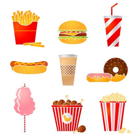 popcorn: Vector set of nine fastfood icons Illustration